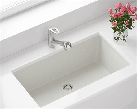 White Sinks Kitchen 848 White Large Single Bowl Undermount Trugranite Kitchen Sink