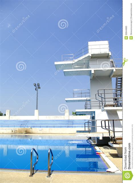 outdoor swimming pool diving board in outdoor swimming pool stock image image 30944883