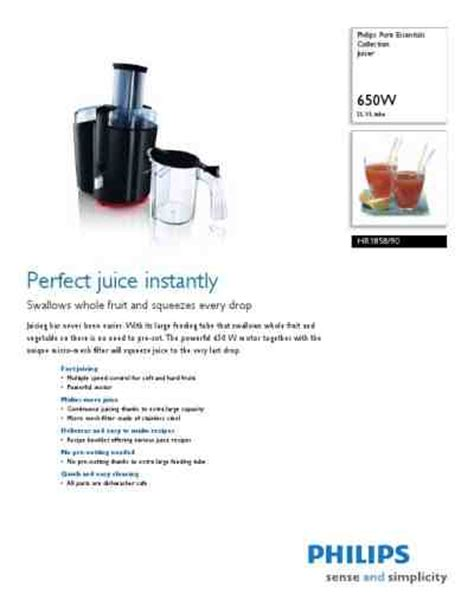 Juicer Philips Hr 1858 philips hr 1858 juice extractor manual for free