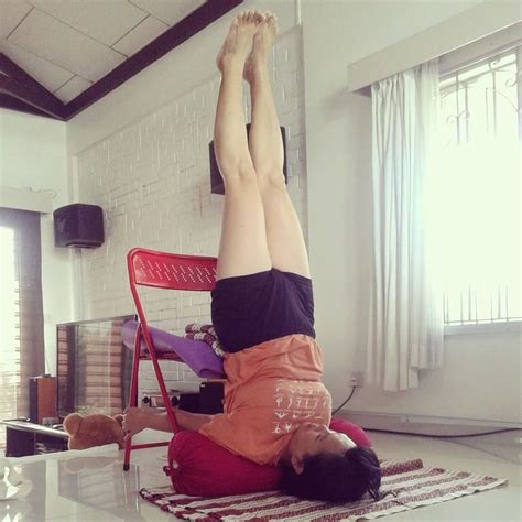Chair Sarvangasana by 53 Best Iyengar Chair Inversions Images On
