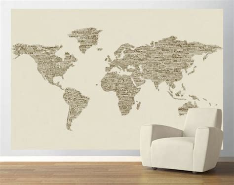 easy wall murals brown peace and world map easy up mural