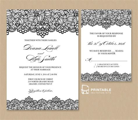 printable wedding invitation black lace vintage wedding invitation and rsvp wedding