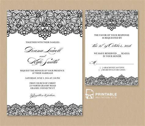 Black Lace Vintage Wedding Invitation and RSVP ? Wedding
