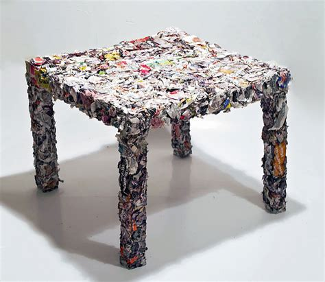 ikea furniture recycle a table made from every single page of an ikea catalogue