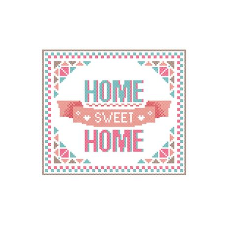 modern cross stitch pattern home sweet home bright warm