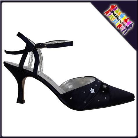 Navy Satin Wedding Shoes by Navy Satin Wide Fit Bridal Wedding Shoes Siz 3 8 Ebay