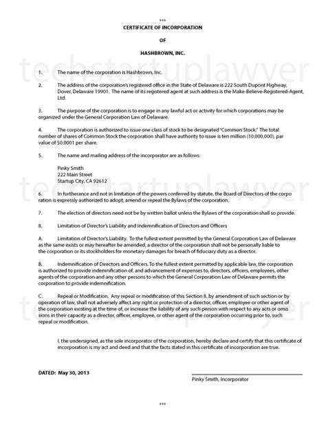 certificate of organization template incorporating a technology startup certificate of