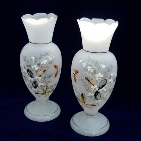 reserved for aantique bristol glass vase pair white satin and