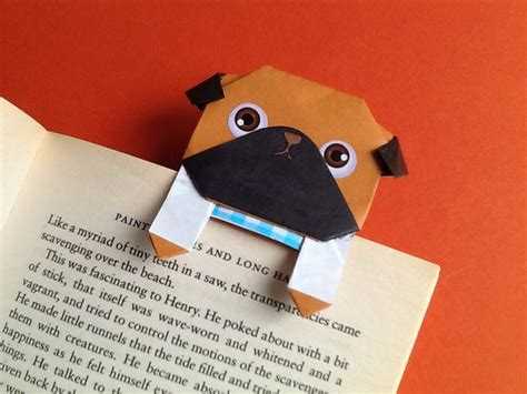 How To Make A Cool Origami Bookmark - cool paper pug bookmark origami pug bookmark card by
