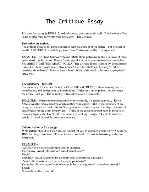 Exle Critique Essay evaluation argument essay
