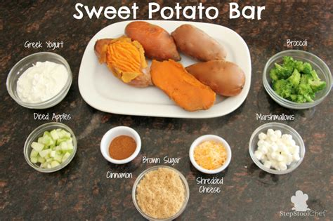 potato toppings potato bar sweet potato bar healthy ideas for kids