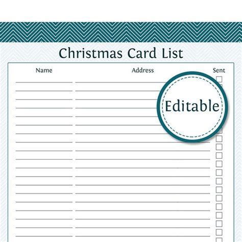 Card Record List Template by Card List Fillable Printable Pdf Instant Etsy