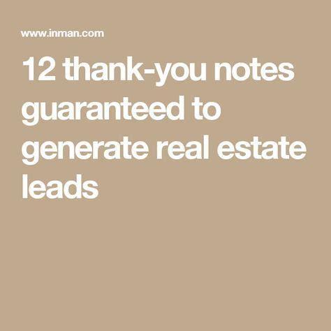 Thank You Letter Generator 12 thank you notes guaranteed to generate real estate