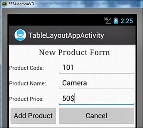 android tablelayout tablelayout laying out controls in android containers informit