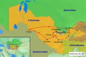 usbekistan regionen karte usbekistan karte aktivreise kamel safari von asienteam