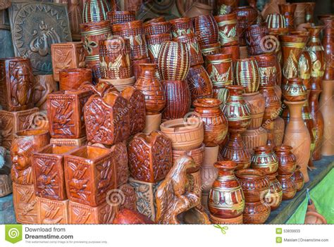 Handcraft Products - beautiful clay pots stock image image of shopping