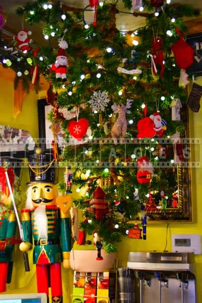 christmas lights that hang down delicious food and colorful christmas decorations at