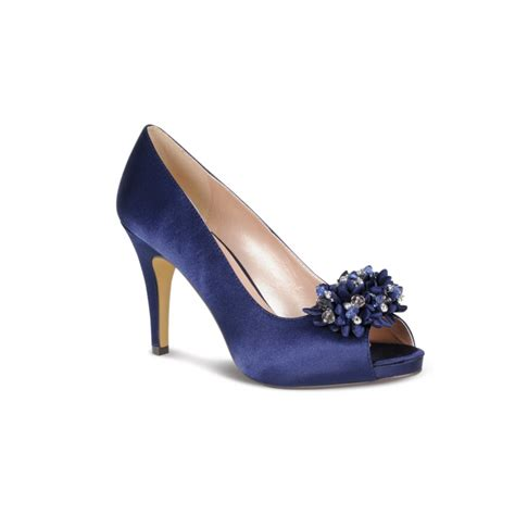 lunar flr117 navy blue satin shoe with bead trim lunar