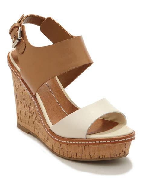 dolce vita jonee leather sandal wedges in beige