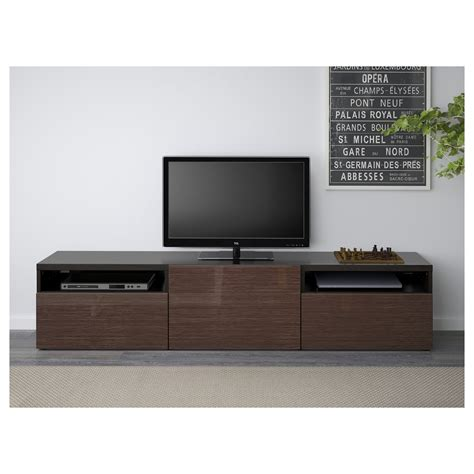 ikea besta furniture best 197 tv bench black brown selsviken high gloss brown