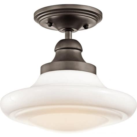 Schoolhouse Ceiling Light Bronze Fitting With Opal Glass