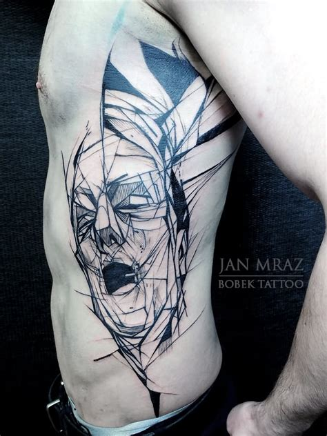tattoo geometric face abstract geometric wolf head tattoo on man chest