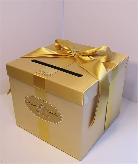 Gift Box Card Holder - wedding card box gold gift card box money box holder customize