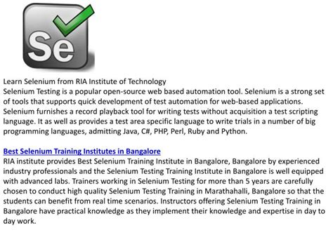 selenium tutorial powerpoint slides ppt selenium training in marathahalli powerpoint
