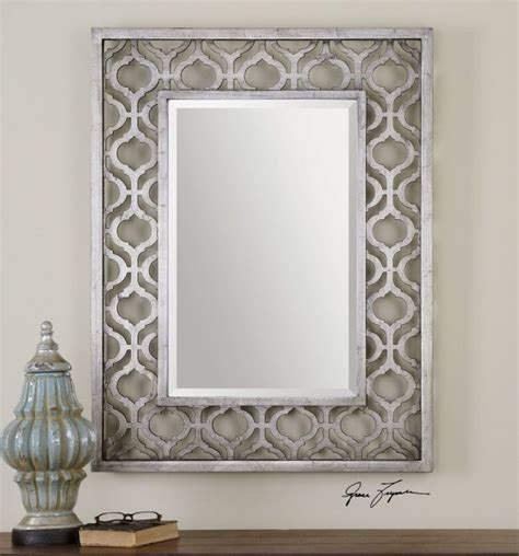 bathroom mirrors decorative decorative antiqued silver wall mirror beveled large 40