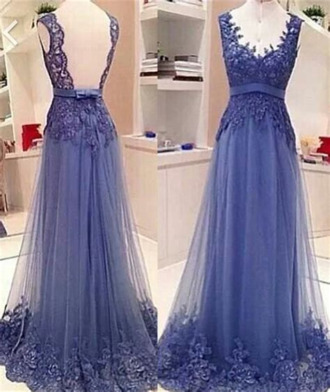 Cute Lace Appliques Elegant Prom Dresses with Bowknot Sash soft Mesh 2018 Open Back Popular