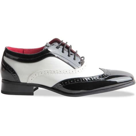 Gentleman Shoes Black mens gentleman black white spectator wingtip brogue