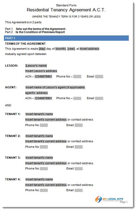 Sle Of Tenancy Agreement Letter In Residential Tenancy Lease Agreement Australian Capital Territory