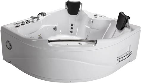 jetted corner bathtub 2 person bathtub corner whirlpool jetted therapy tub spa massage heat white new