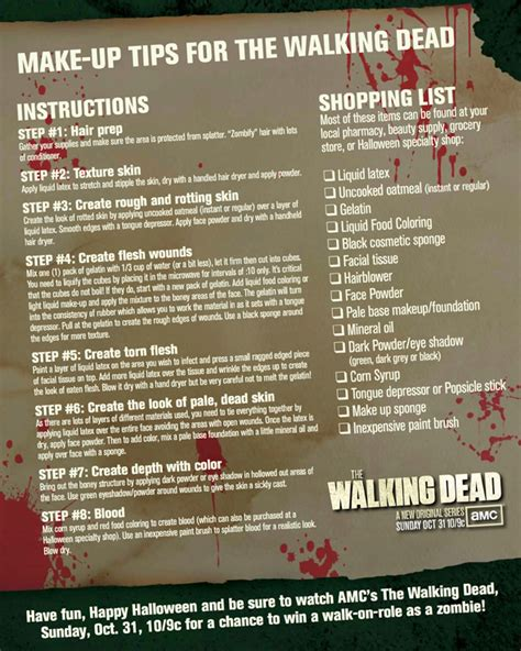 zombie network tutorial the walking dead make up tips amc
