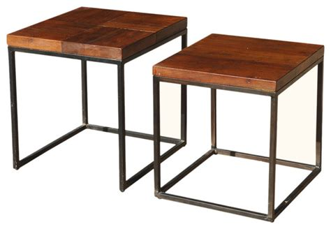 santa fe solid wood iron 2 nesting square end tables