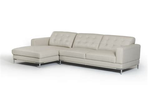 divani casa larkspur mid century light grey leather sectional sofa