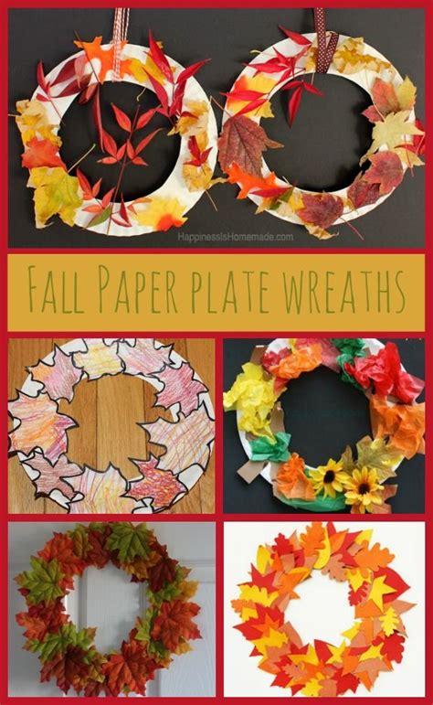 Autumn Paper Crafts - paper plate autumn fall leaf wreaths autumn activities