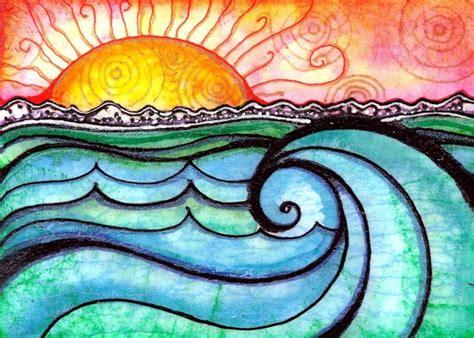 a new day sun water watercolor wave colors sun color paints