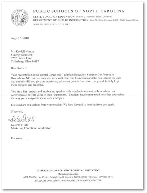 Recommendation Letter For Student Conference Reference Letter For Kordell Norton From The Carolina Career Tech Conference 2010