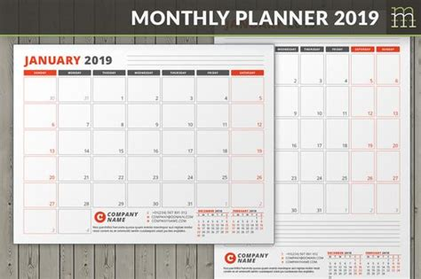 Editable Monthly Planner 2019 Indesign Template Etsy Indesign Planner Template Free