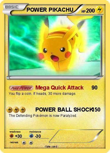 carte picachu pokemon power pikachu   mega quick