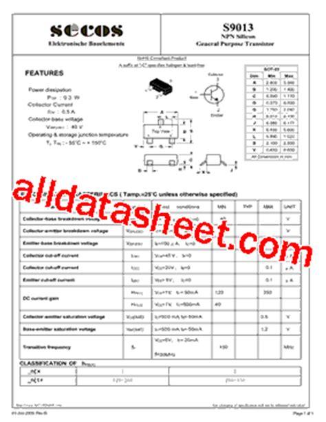 transistor s9013 s9013 datasheet pdf secos halbleitertechnologie gmbh