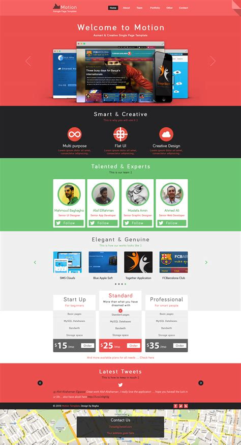 motion single page psd web template for free by begha on