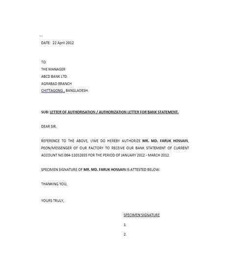 authorization letter german request letter format bank statement
