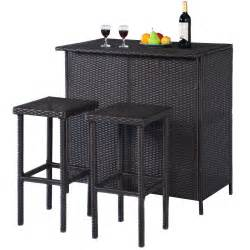 Outdoor Bar Table And Stools Goplus 3pcs Rattan Wicker Bar Set Patio Outdoor Table 2