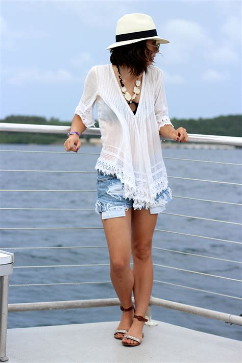 ladies caribbean cruise outfits sheer crochet cutoffs cruise la mode du jour