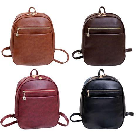 vintage pu leather backpack school bag small shoulder bags