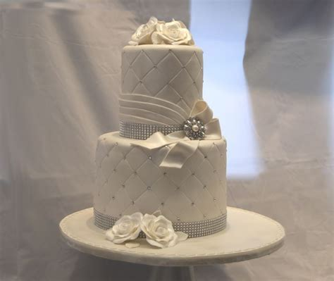 Two Tier Double Stacked Quilted Ivory Cake with Fondant