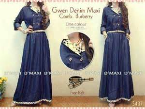 Baju Levina Dress Maxy by Baju Gwen Denim Maxi Comb Burberry 5437 Limited Fashion