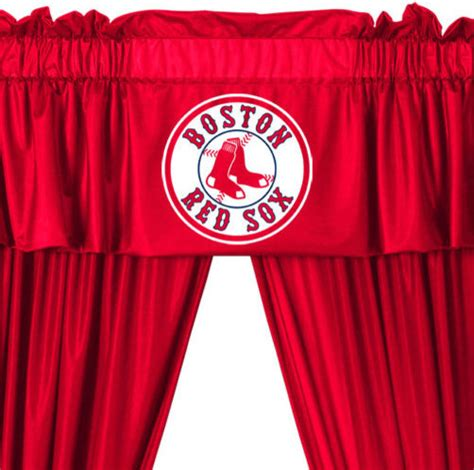 mlb curtains mlb boston red sox 5 piece long curtains drapes valance